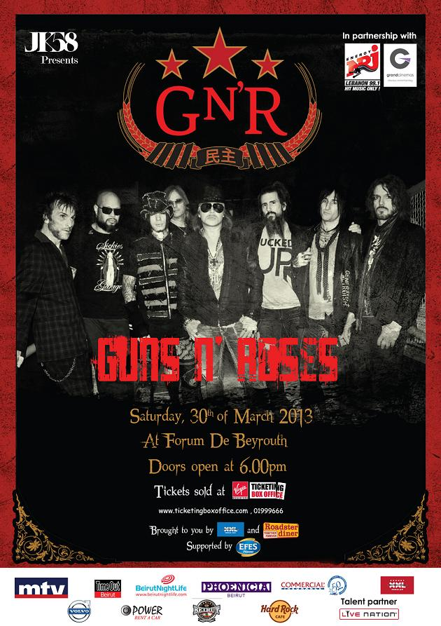Get your FREE Guns N' Roses ticket with BeirutNightLife.com