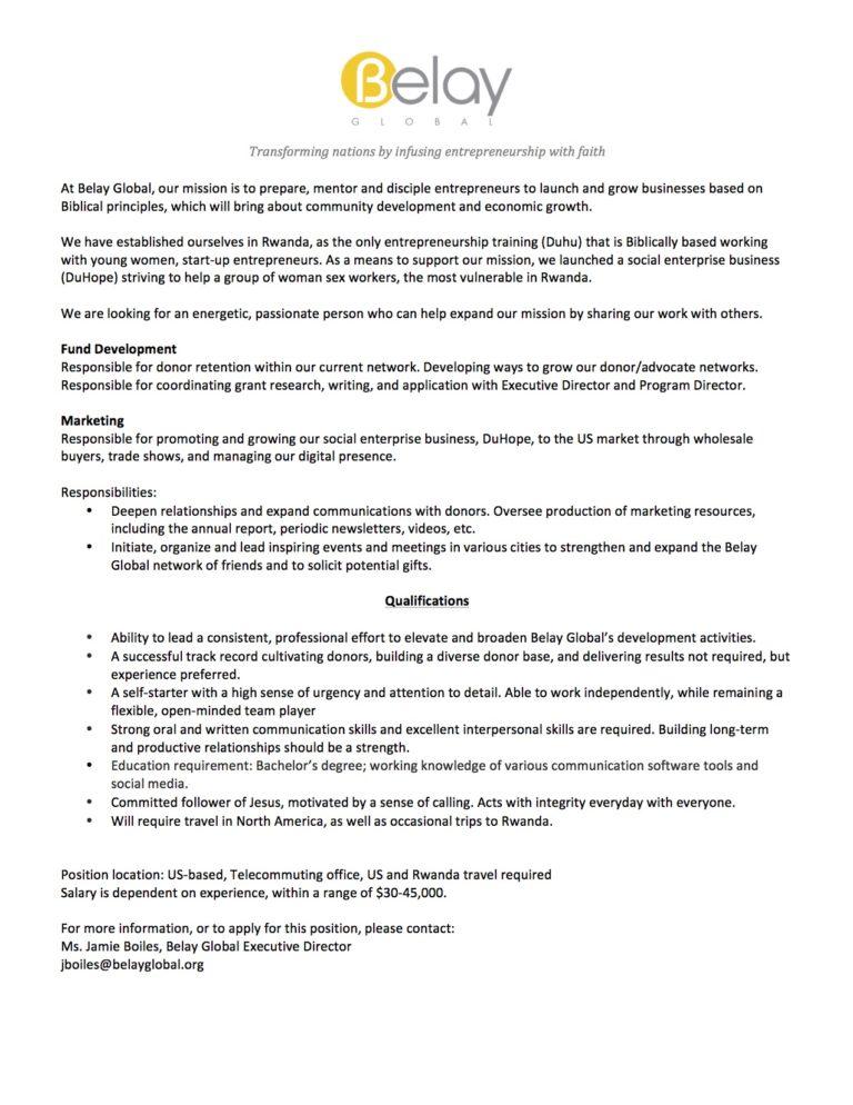 We are hiring a Marketing and Development Director Belay Global - trade marketing job description