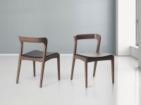 Kitchen chair Dining chair Wooden Walnut Leather Seat Low ...
