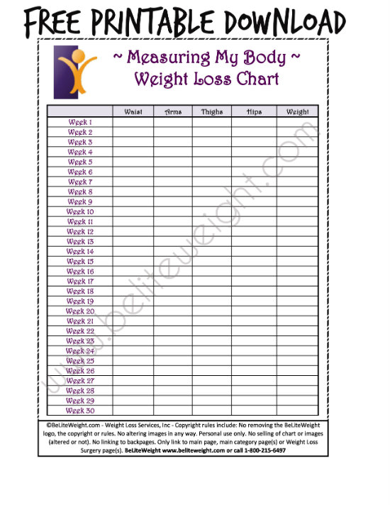 printable body measurement chart for weight loss 3slu