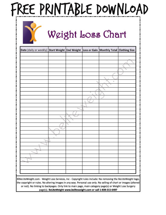 Keeping Track Of Your Weight Loss - Tips  Free Printable Charts