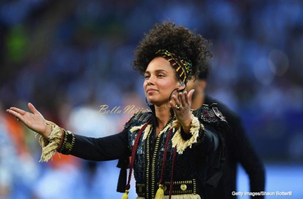 MILAN, ITALY - MAY 28: Alicia Keys performs during Champions League final opening ceremony during the UEFA Champions League Final match between Real Madrid and Club Atletico de Madrid at Stadio Giuseppe Meazza on May 28, 2016 in Milan, Italy. (Photo by Shaun Botterill/Getty Images)