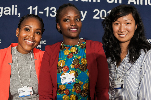 Nneile Nkholise, iMED Tech Group, Bloemfontein, South Africa, Larissa Uwase, CARL GROUP, Kigali, Rwanda and Audrey Cheng, Moringa School, Nairobi, Kenya at the World Economic Forum on Africa 2016 in Kigali, Rwanda