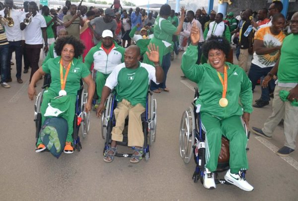 PIC 10. TEAM NIGERIA AT THE JUST CONCLUDED RIO PARALYMPIC GAMES ARRIVING THE AT THE NNAMDI AZIKWE INTERNATIONAL AIRPORT IN ABUJA ON SUNDAY (18/9/16). 6923/18/9/16/TA/ICE/NAN