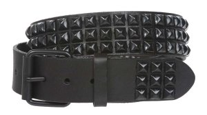 One Row Punk Rock Star Black Studded Pyramid Leather Belt