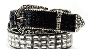 Skinny Belt With Rectangular Rhinestone Buckle