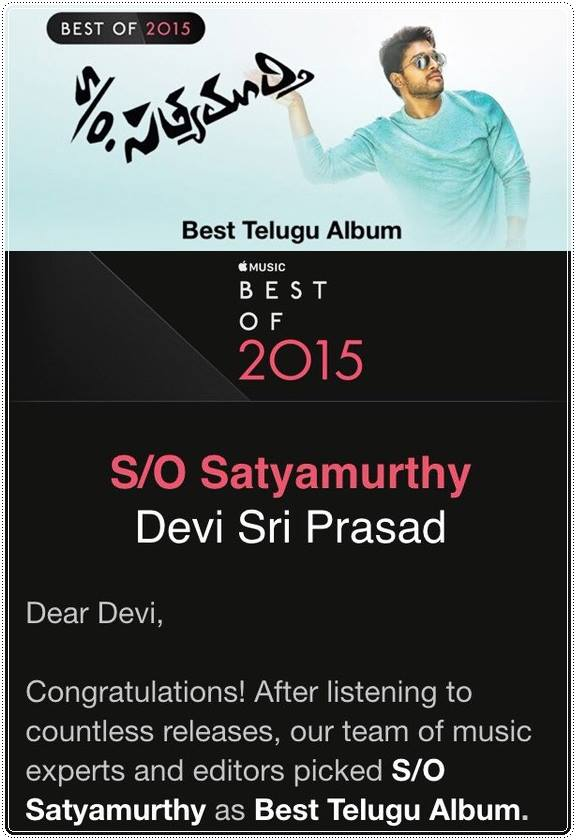 DSP Receives Best Telugu Album of 2015