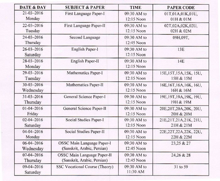 time table pt3 2016 telangana ts ssc class 10th exam time