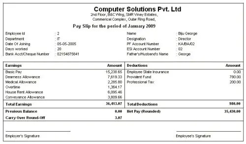 Salary, Net Salary, Gross Salary, Cost to Company What is the - employee salary slip format pdf