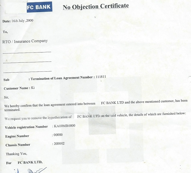 No objection format resume templateasprovider how to close car loan no objection format home loan clearance no objection certificate yadclub Gallery