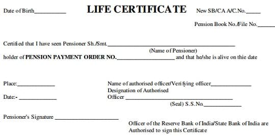 Pensioneru0027s Life Certificate and Jeevan Pramaan Certificate - income certificate form