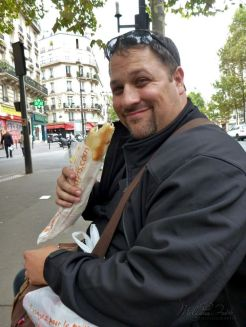 Food on the go, a baguette sandwich