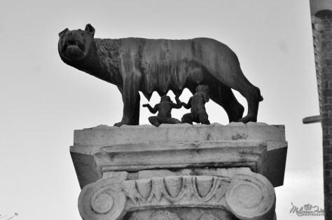 Capitoline Wolf. Traditional scholarship says the wolf-figure is Etruscan, 5th century BC, with figures of Romulus and Remus added in the 15th century AD by Antonio Pollaiuolo.