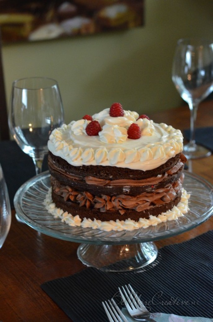 Duncan Hines SwissChcolate Cake with Chocolate mousse, Raspberries and Cream Cheese Whipped Frosting