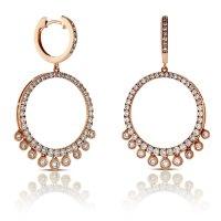 Rose Gold Circle Dangle Diamond Earrings 14K | Ben Bridge ...