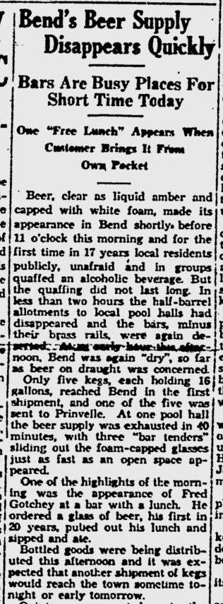 Bend Beer on April 7, 1933