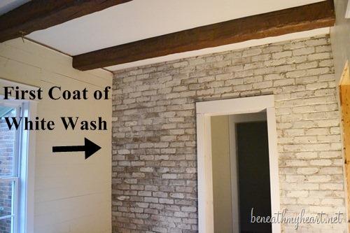How To White Wash Brick {Bathroom Update} - Beneath My Heart
