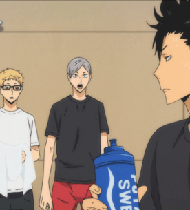 Hinata, Tsukishina, and Lev are eager to learn from Kuroo and the other upperclassmen (ep 9).