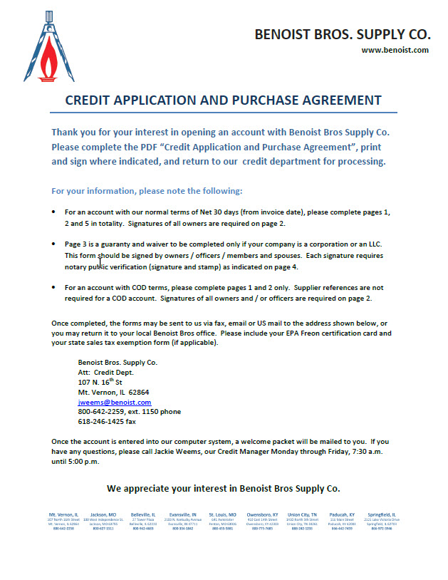Credit Application - benoist - credit application