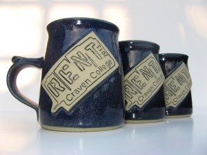 named mugs made at Bentham Pottery