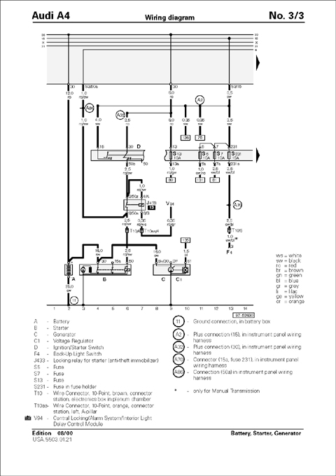 1998 200audi a6 wiring diagram manual