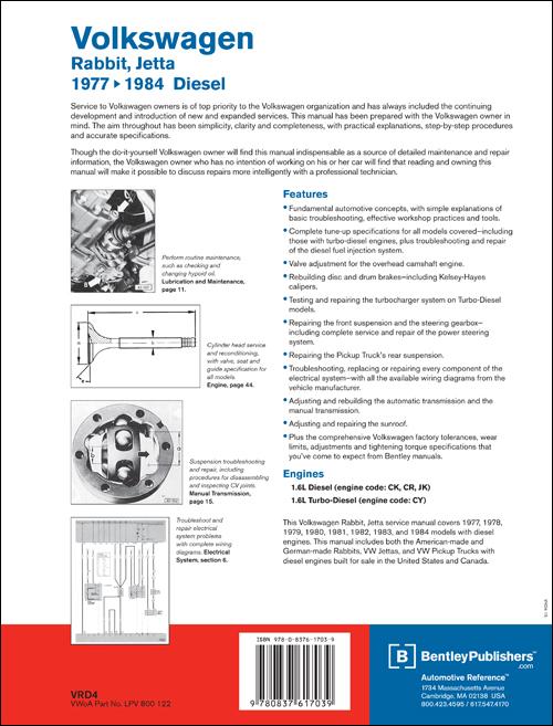 Back Cover - VW - Volkswagen Repair Manual Rabbit, Jetta Diesel