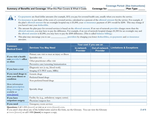 Summary of Benefits Coverage guidelines released Another tool for