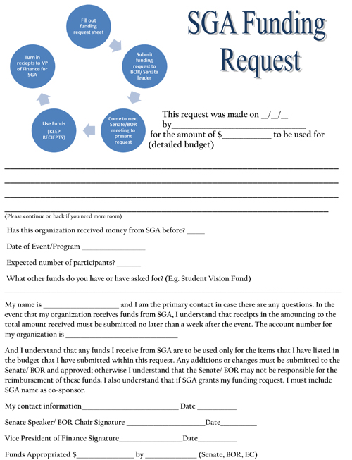 Fund Request Form - Student Government Association - funding request form