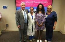 From L to R:  Berkeley Co. Sheriff S.Duane Lewis; Trident Trauma surgeon Stancie Rhodes, MD; Berkeley Co. Sheriff's Deputy Kimber Gist; and Trident 2016 Spirit of Nursing Award winner Melanie Godfrey, RN. (Via Trident Medical Center)