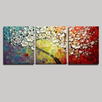 2018 Popular Cherry Blossom Oil Painting Modern Abstract ...