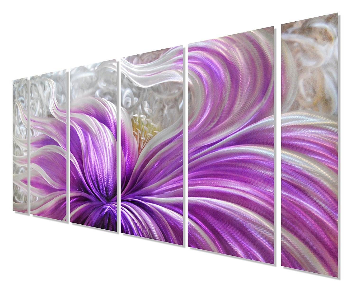 15 Photos Purple Flower Metal Wall Art