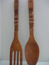 Large Wooden Fork And Spoon Wall Decor - Wall Decor Ideas
