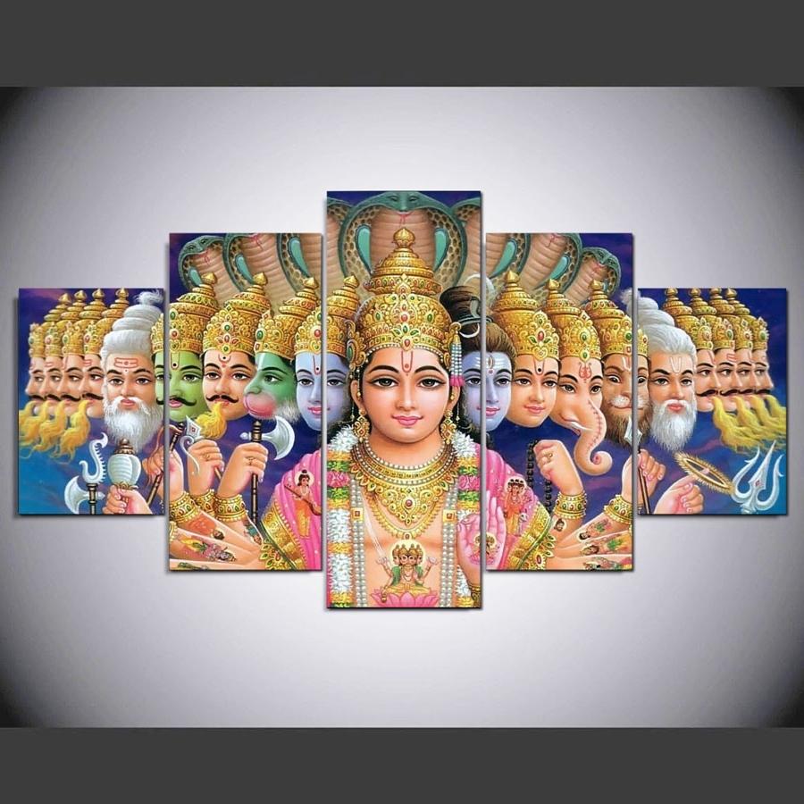 hd print 5pcs wall art pictures home decor art ganesha poster elephant ganesh india religion
