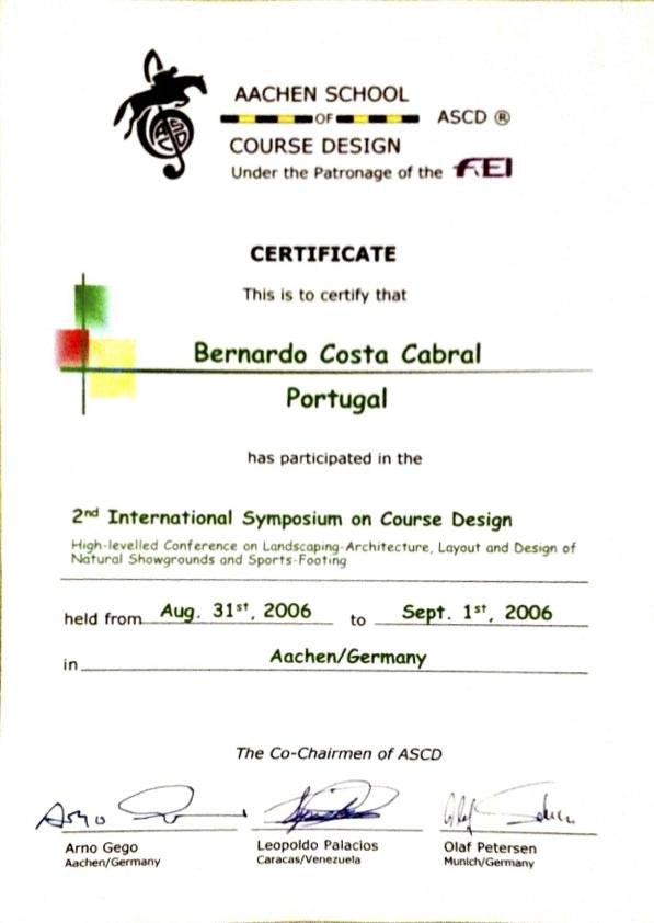 Certificates Bernardo Costa Cabral - design of certificate of participation