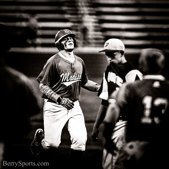 May 30, 2016. Region 2A East Quarter Finals. MCHS Varsity Baseball vs Page. Madison wins 1-0 in 8 innings. The Baseball team beat Page County 1-0 in 8 innings in the Region 2A East 1/4 finals. Eli Estes threw all 8 innings allowing only 2 hits for the win. Chris Smith opened the bottom of the 8th with a single up the middle and was sacrificed to 2nd by Estes. Shane Aylor then delivered a 2 out RBI single down the left field line to bring home Smith for the 1-0 win. Zach Adams and Smith both had 2 hits on the night for the Mountaineers. Madison will host Maggie Walker on Wednesday night at 7:00pm in the Region semi-finals.