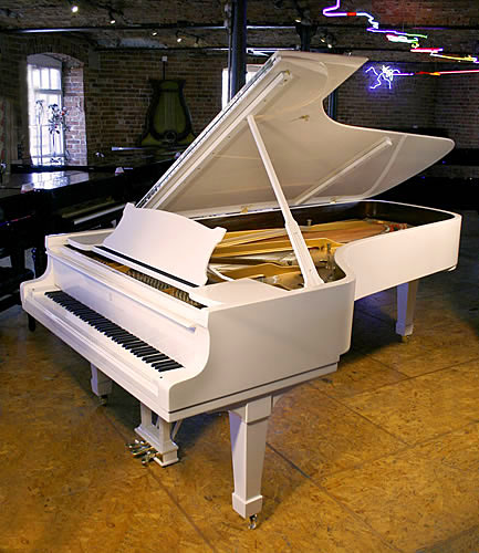 Steinway Model D Concert Grand piano for sale with a white case