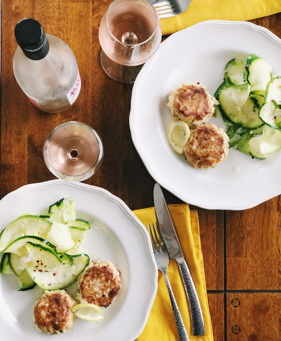 homemade crabcakes shaved zucchini salad