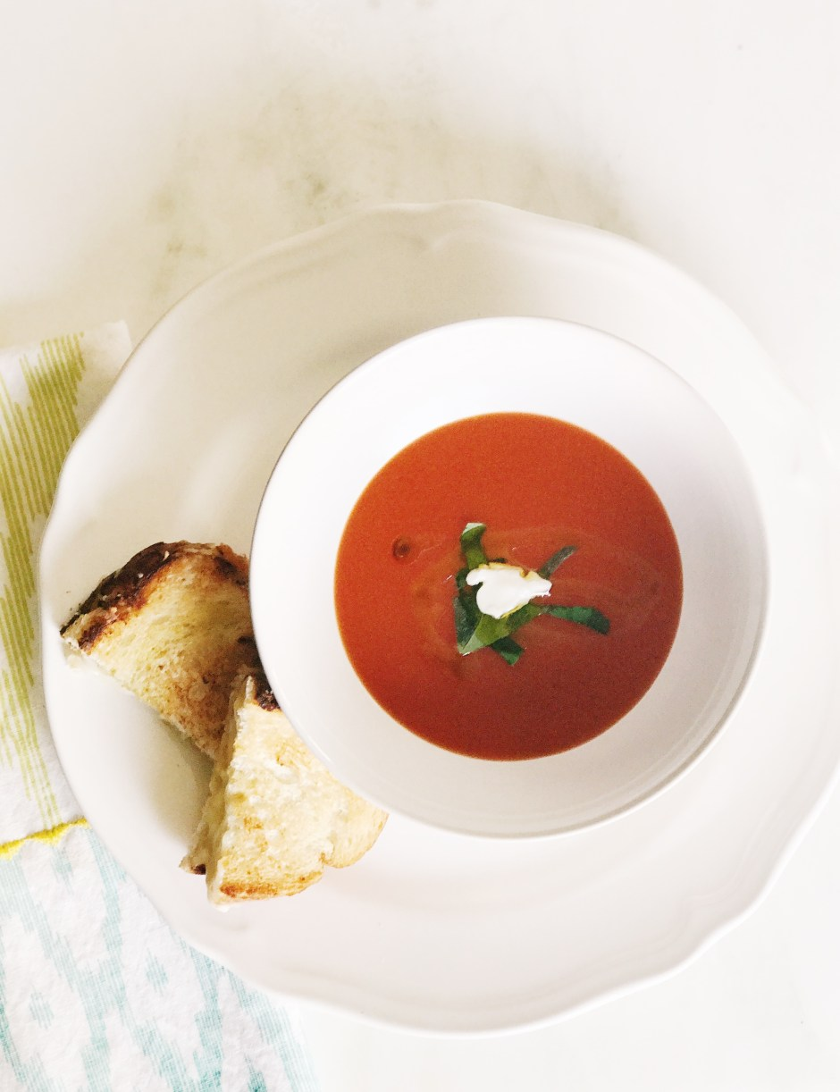 classic combo of grilled cheese and tomato soup gets a fun twist with a fancy grilled cheese and Cambell's tomato soup