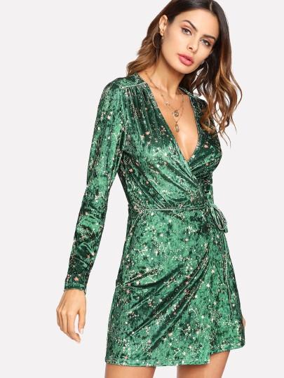 SHEIN Knot Side Surplice Wrap Dress