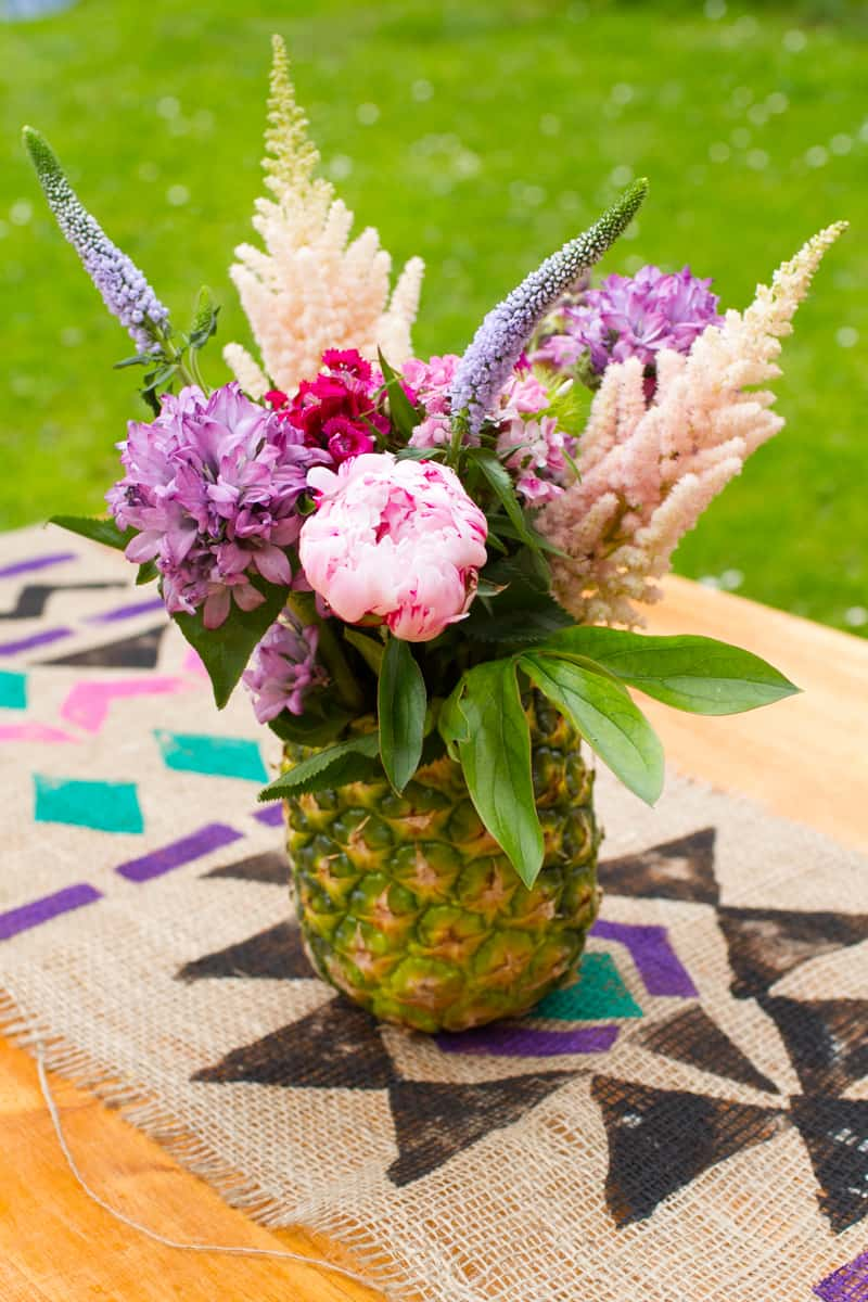 Pineapple flower arrangement by Be spoke bride