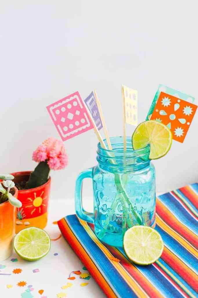 DIY Papel Picado Flag Drink Stirrers Wedding Decor Cricut Explore Colourful Mexican theme_-7