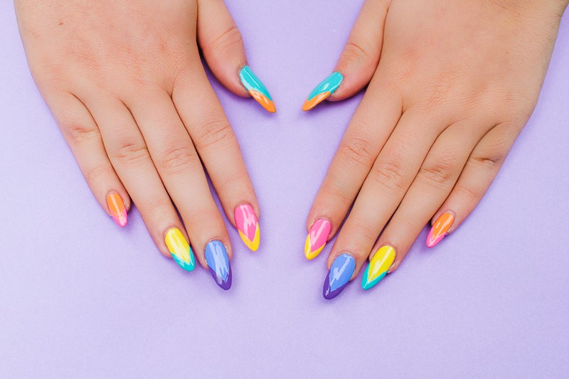 Geometric Bright Colourful Nail Tutorial Nail designs modern fun-2