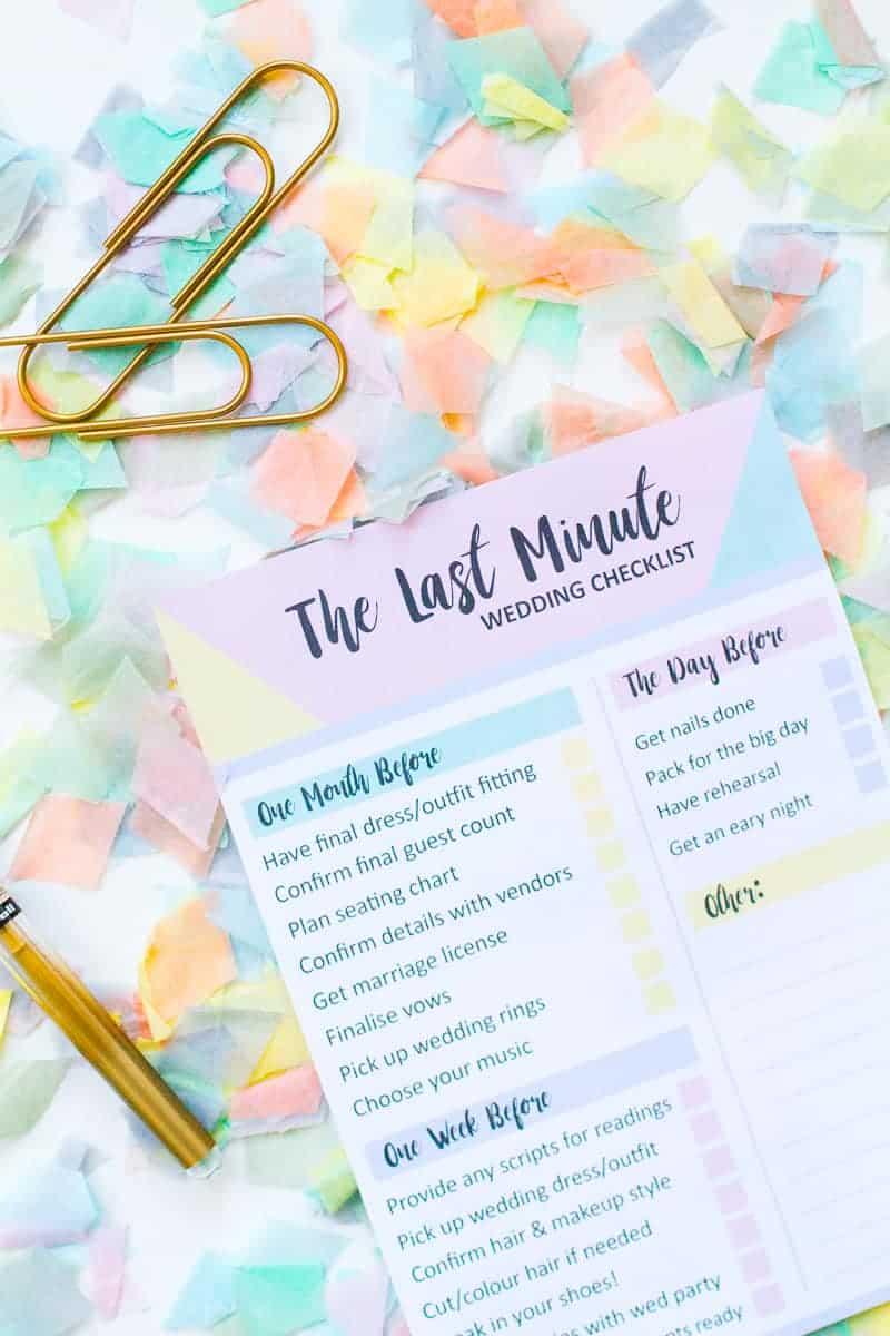 wedding checklist for bride printable