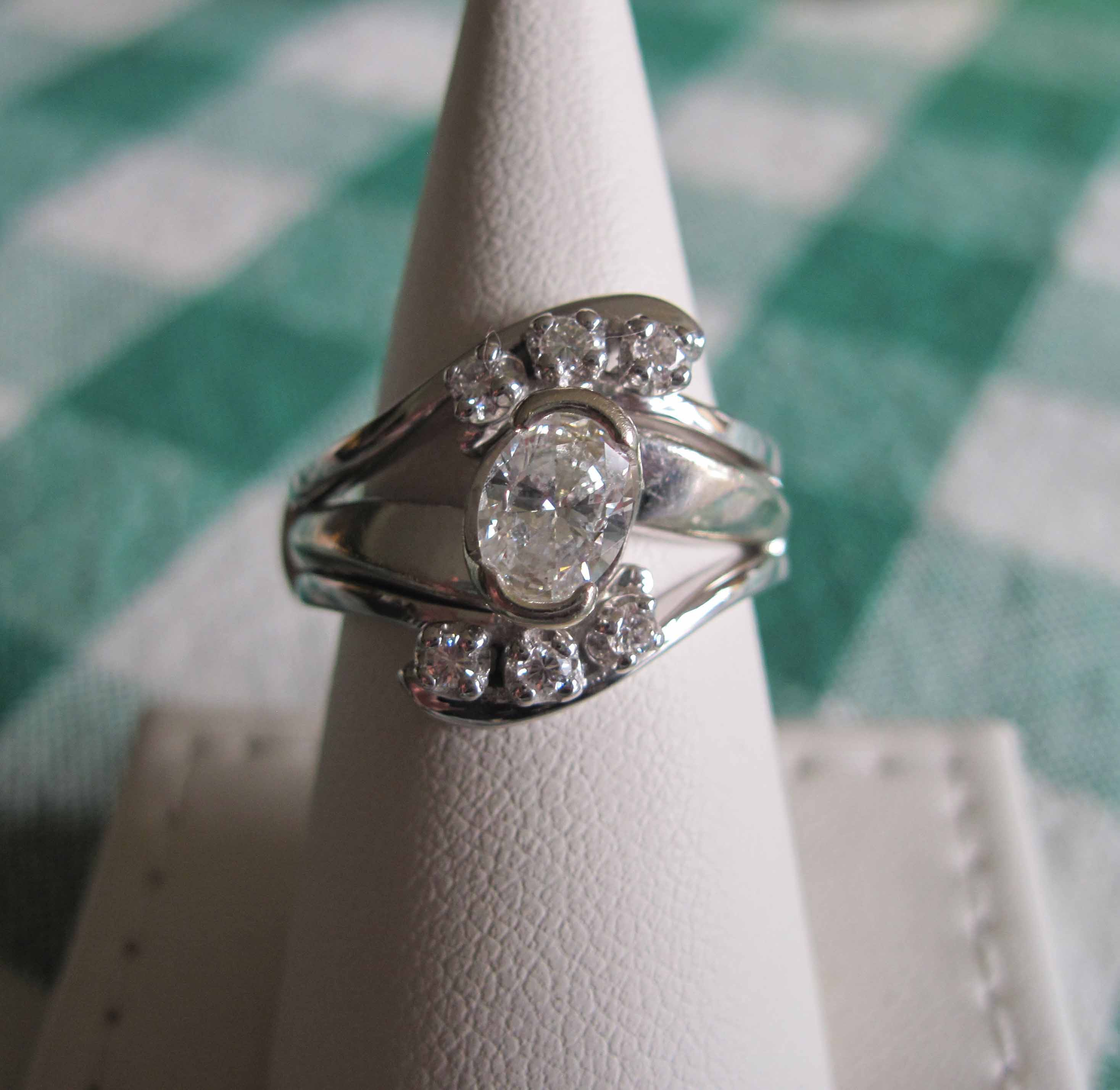 bespokefinejewelry handmade wedding rings Custom diamond ring wrap for an oval engagement ring