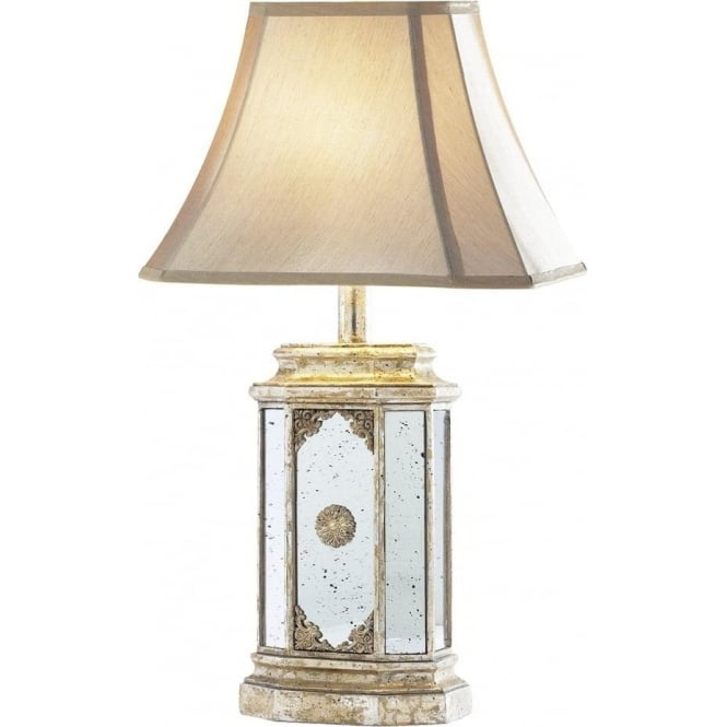 Aged Mirror Glass Table Lamp with Antique Gold Detail and
