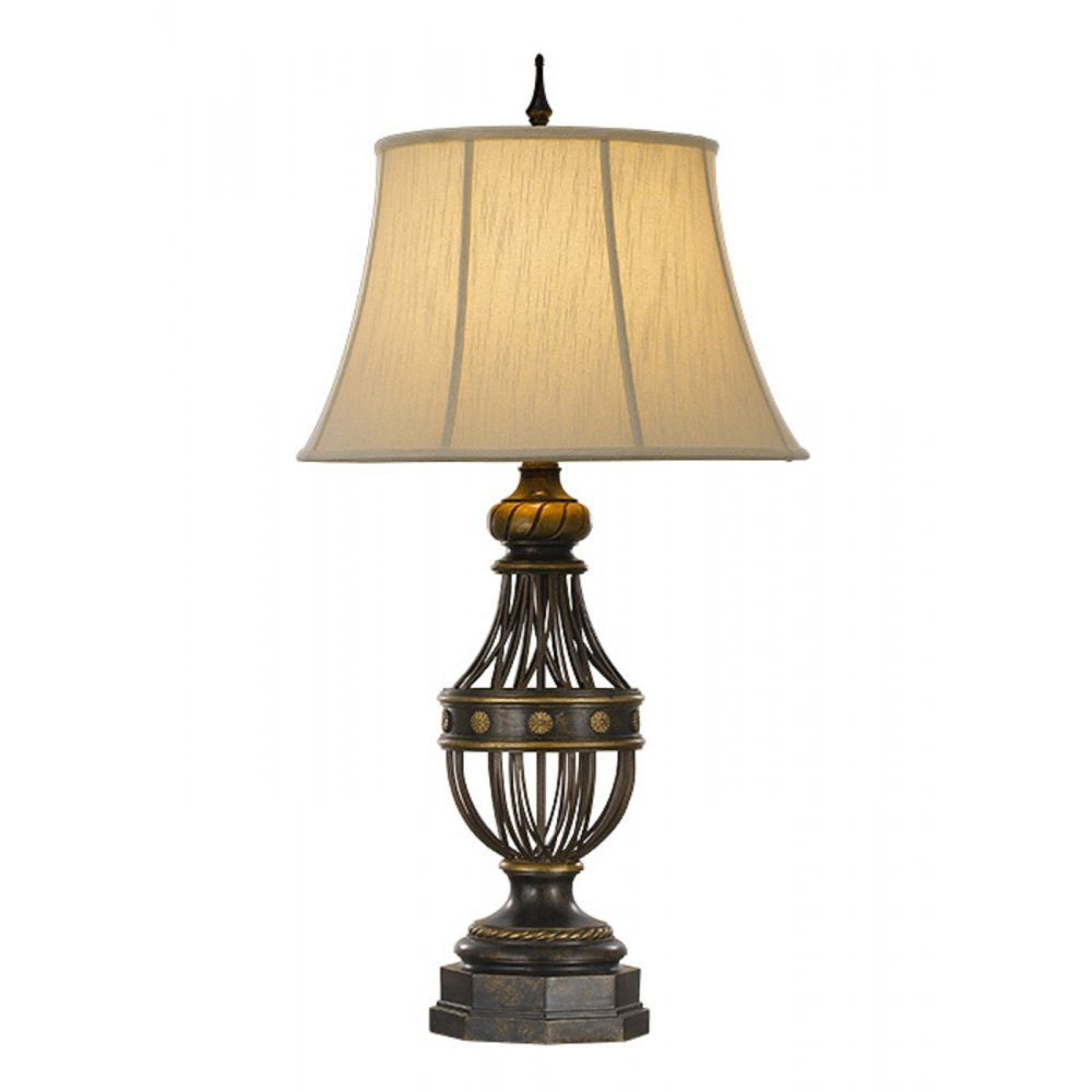 Traditional Antique Bronze Table Lamp with Lighter Brushed