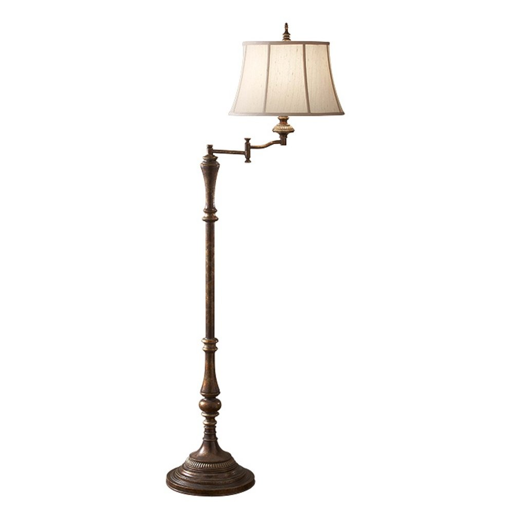 Traditional Dark Antique Standard Lamp with Swivel Head