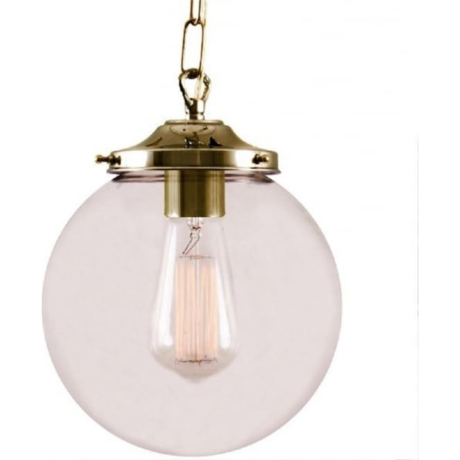 Ceiling Pendant Light with Clear Glass Globe Shade on Gold