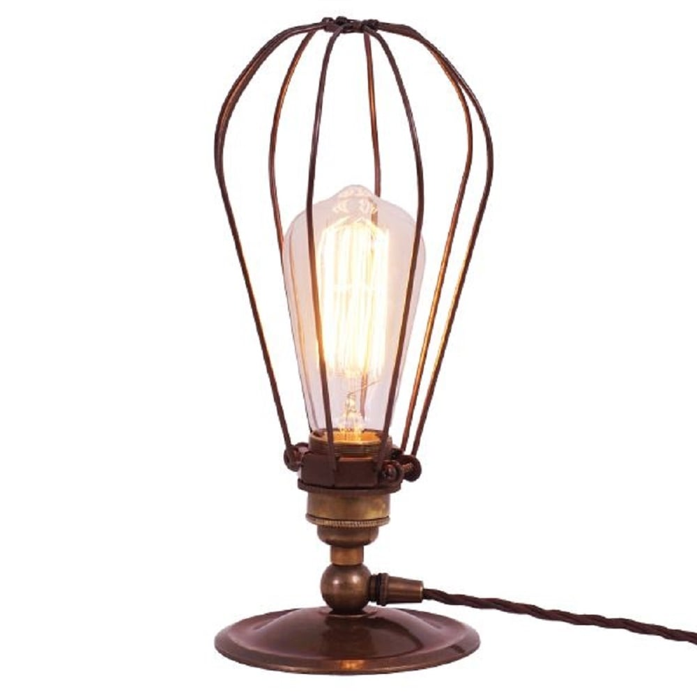 Vintage Metal Cage Table Lamp in Antique Brass, Use with
