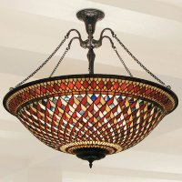 Large Tiffany Uplighter Ceiling Pendant Light, Red ...